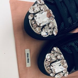 Miu Miu Shoes - Miu Miu Black Patent Jeweled Sneakers